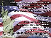 God Bless America Song Lyrics - Eagle Stock Images Screen Saver.  Statue of Liberty and American Flag picture.