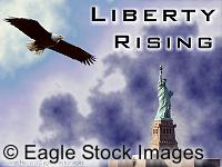 Liberty Rising - Picture of american bald eagle and New York Statue of Liberty.  Smoke in the background of new york world trade center