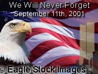 Remembering those lost at the New York World Trade Center.  Picture of a Patriotic American Eagle