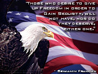 Benjamin Franklin quote on Freedom and Secuity.  Includes one of my best Bald Eagle pictures.  Part of the Patriotic Bald Eagle Screen Saver.  For true american patriots.