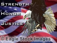 Strength, Honor, and Justice - Bald Eagle and USA flag from the screen saver.  Free screen saver evaluation version also available. Patriotic picture of USA flag and eagle.